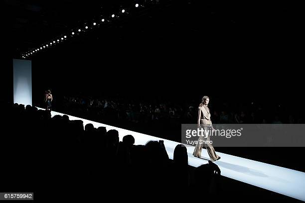 Models showcase designs on the runway during the AnneSofie Madsen show as part of Amazon Fashion Week TOKYO 2017 S/S at Shibuya Hikarie on October 20...