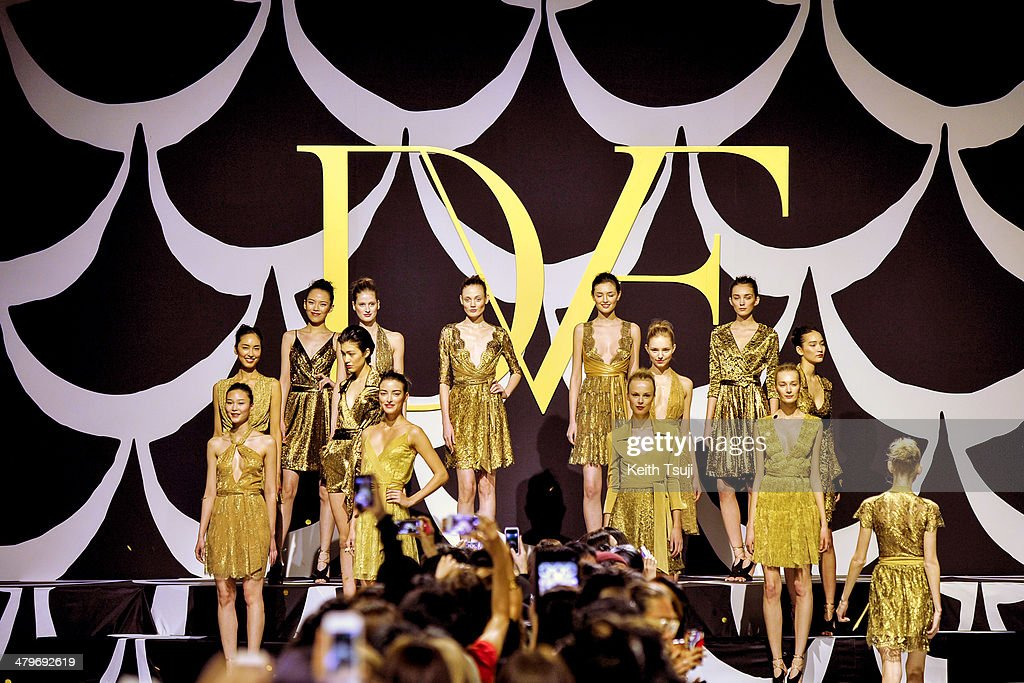 Models showcase designs on the runway during the DIANE von FURSTENBERG show as part of Mercedes Benz Fashion Week TOKYO 2014 A/W at Shibuya Hikarie on March 20, 2014 in Tokyo, Japan.