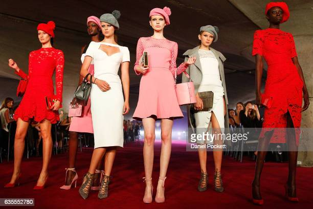 Models showcase designs on the runway during the media dress rehearsal ahead of the Myer Autumn 2017 Fashion Launch on February 16 2017 in Melbourne...