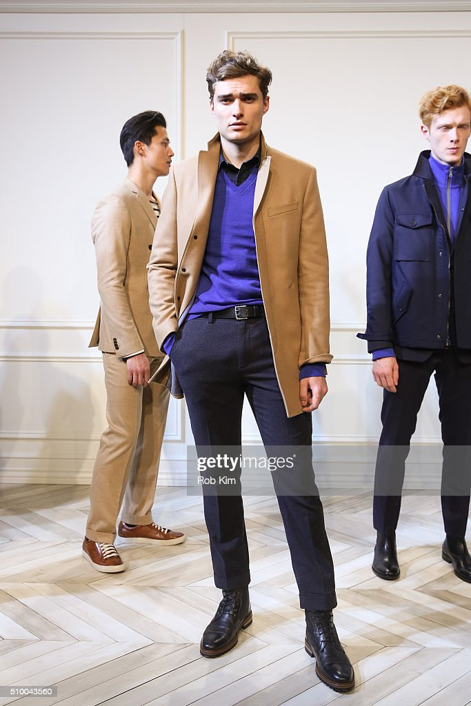 Models showcase new outfits at the Banana Republic presentation during Fall 2016 New York Fashion Week at Highline Stages on February 13 2016 in New...
