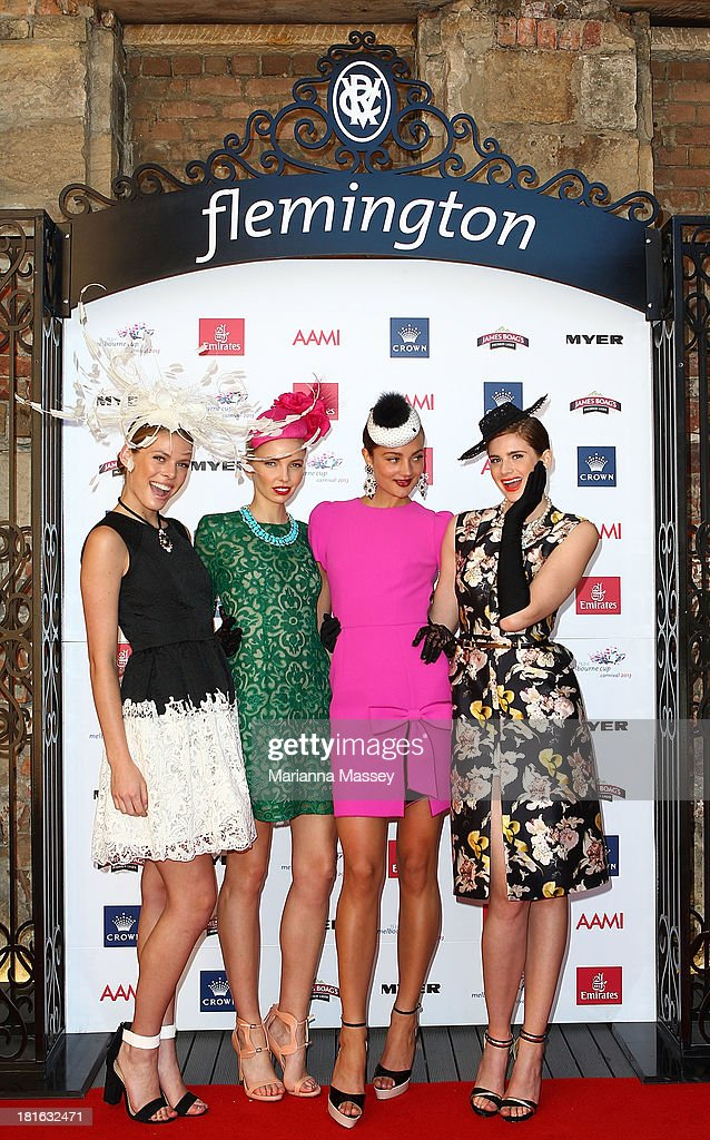 Models showcase race wear during the Melbourne Cup Carnival Spring Fashion Moment at The Mint Cafe on September 23, 2013 in Sydney, Australia.