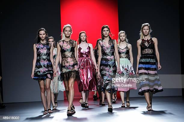 Models showcases designs by Juan Vidal on the runway at the Juan Vidal show during MercedesBenz Fashion Week Madrid Spring/Summer 2016 at Ifema on...