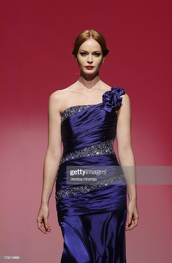 A models showcases designs by NBnublano on the runway during the Maco Fashion Parade on day 3 of Hong Kong Fashion Week Spring/Summer 2013 at the Hong Kong Convention and Exhibition Centre on July 10, 2013 in Hong Kong, China.