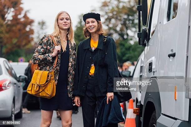 Models Sofie Hemmet and Mali Koopman after the Chloe show at Grand Palais on September 29 2016 in Paris France Sofie wears a floral print blazer...