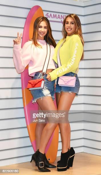 Models Sophia Stallone and Scarlet Stallone attend the 'Samantha Vega' Millennial Sisters talk event at Samantha Thavasa Omotesanodo Gates Popup...