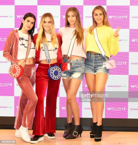 Models Sophia Stallone and Scarlet Stallone Delilah Hamlin and Amelia Hamlin attend the 'Samantha Vega' Millennial Sisters talk event at Samantha...