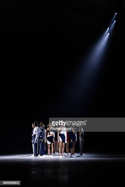 Models stand on the runway during the Jacquemus show in Paris Events Center as part of the Paris Fashion Week Womenswear Spring/Summer 2016 on...