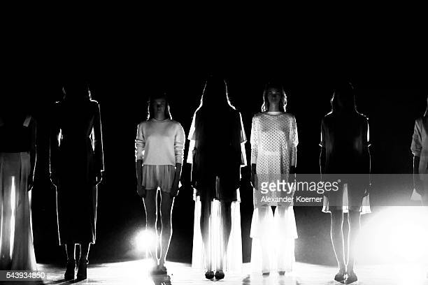 Models stand on the runway prior the Marcel Ostertag show at Admiralspalast at the MercedesBenz Fashion Week Berlin Spring/Summer 2017 at Erika Hess...