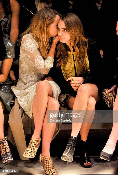 Models Suki Waterhouse and Cara Delevingne attend the Burberry 'London in Los Angeles' event at Griffith Observatory on April 16 2015 in Los Angeles