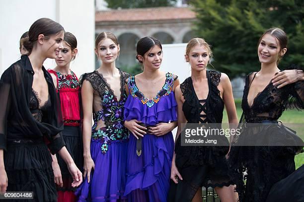 Models take a photo after the Alberta Ferretti show in Alberta Ferretti during Milan Fashion Week Spring/Summer 2017 on September 21 2016 in Milan...