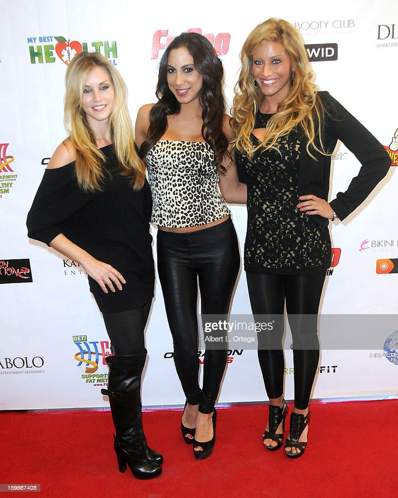 Models Tiffany Goodrich, Leila Shennib and Sara Ashlee participate in the Red Carpet Health Expo held at The Vitamin Shoppe on January 12, 2013 in Los Angeles, California.