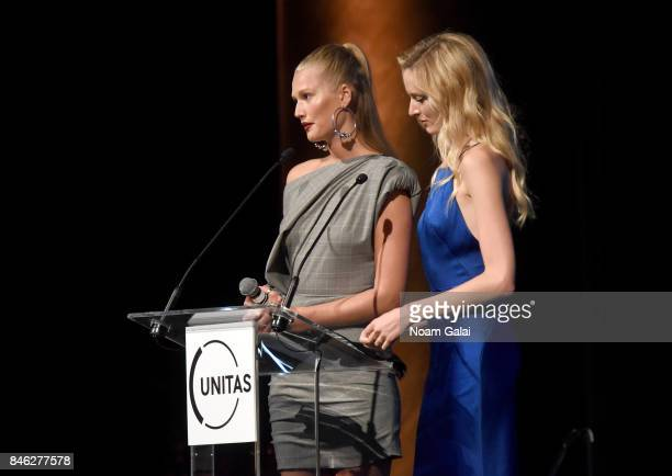 Models Toni Garrn and Daria Strokous speaks onstage during Unitas Third Annual Gala Against Human Trafficking at Capitale on September 12 2017 in New...