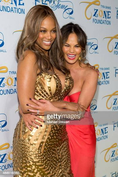 Models Tyra Banks and Chrissy Teigen attend Tyra Banks' Flawsome Ball 2014 at Cipriani Wall Street on May 6 2014 in New York City