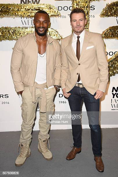 Models Tyson Beckford and Alex Lundqvist attend the Dockers x CFDA NYFWM Opening Party during New York Fashion Week Men's Fall/Winter 2016 at ArtBeam...