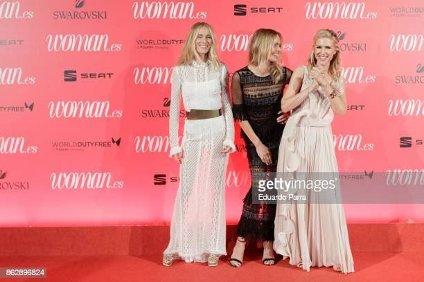 Models Vanesa Lorenzo Veronica Blume and Judith Masco attend the 'Woman 25th anniversary' photocall at Madrid Casino on October 18 2017 in Madrid...