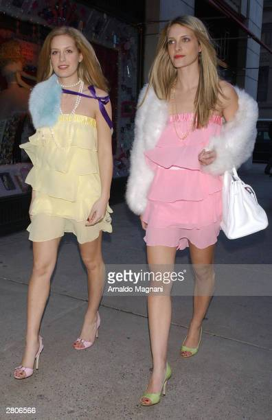 Models Victoria Traina and her sister Vanessa Traina daughters of author Danielle Steel doing a photo shoot on location at Barney's Department Store...