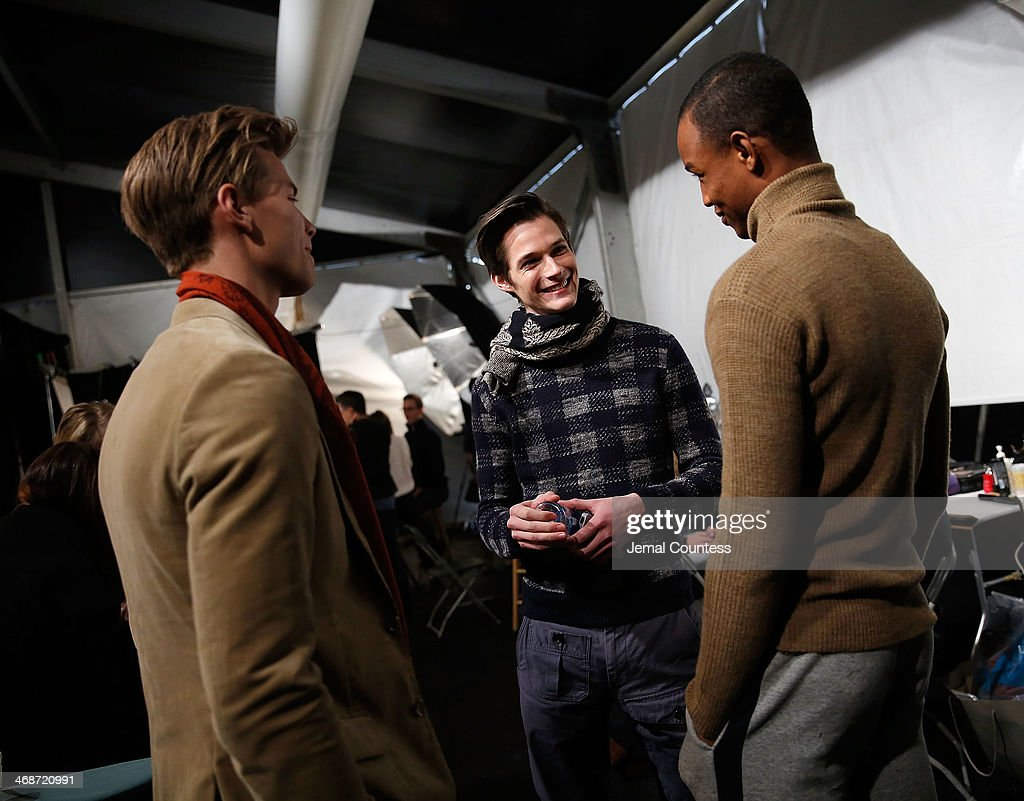 Models wait backstage at the J.Crew presentation during Mercedes-Benz Fashion Week Fall 2014 at The Pavilion at Lincoln Center on February 11, 2014 in New York City.