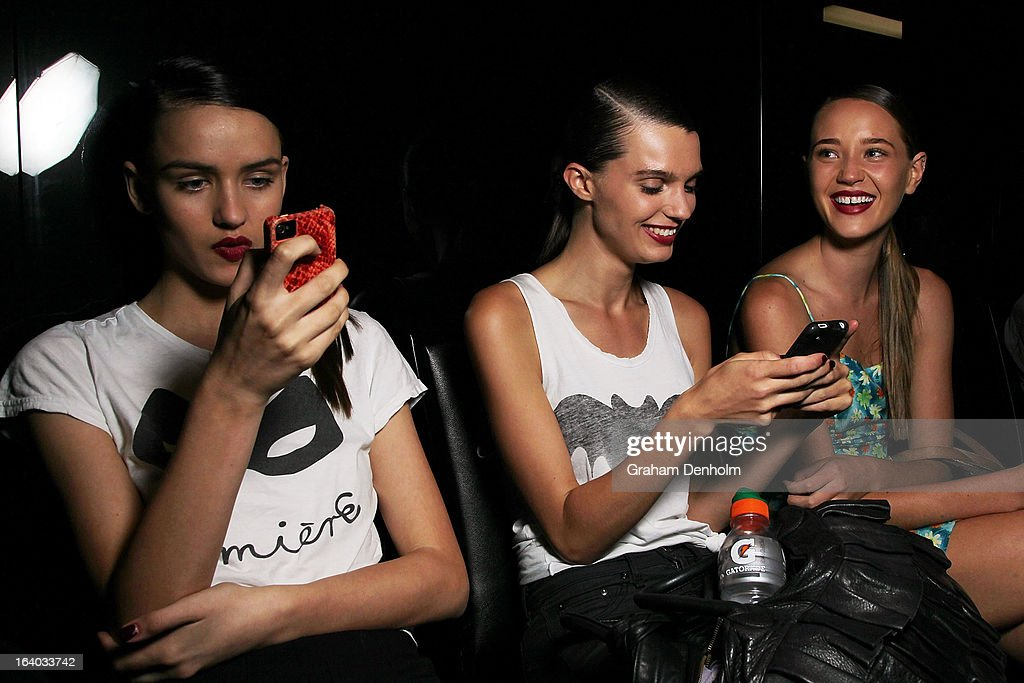 Models wait backstage prior to the L'Oreal Melbourne Fashion Festival Opening Event presented by David Jones at Docklands on March 19, 2013 in Melbourne, Australia.