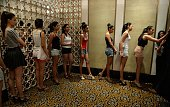 Models wait to appear before the judges during the Lakme Fashion Week model auditions in Mumbai on February 12 2015 Indian and international models...