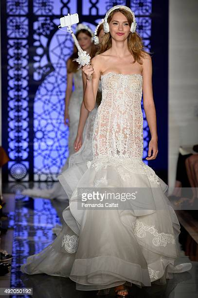 Models walk at Reem Acra Bridal Fall/Winter 2016 Runway Show at Reem Acra on October 9 2015 in New York City