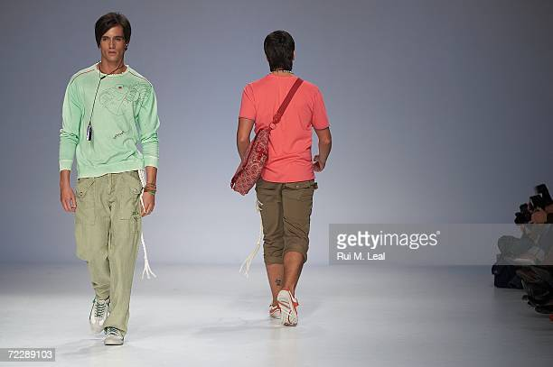 Models walk down the catwalk at Concreto by Susana Santos e Helder Baptista fashion show on the third day of the Portugal Fashion Week on October 27...