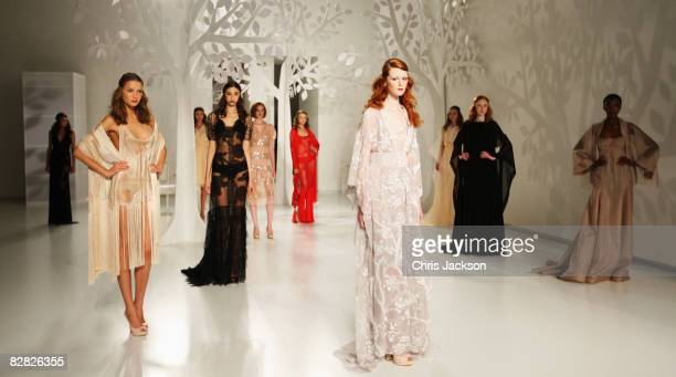 Models walk down the catwalk during the Jasper Conran Spring/Summer 2009 collection at the Royal Academy during London Fashion week on September 15...