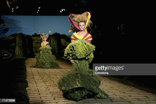 Models walk down the runway at the Christian Dior show designed by John Galliano as part of Paris Haute Couture Collections on July 5 2006 in Paris...