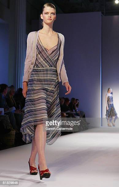 Models walk down the runway at the Nicole Farhi fashion show as part of London Fashion Week Spring/Summer 2005 at The Banquetting halls Whitehall on...