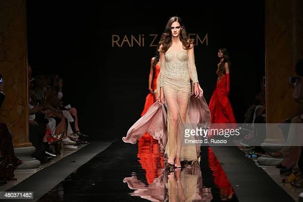 Models walk during the Rani Zakhem fashion show as a part of AltaRoma AltaModa Fashion Week Fall/Winter 2015/16 at Palazzo Delle Esposizioni on July...