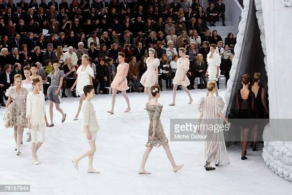 Models walk on the catwalk at the Chanel Fashion show during Paris Fashion Week SpringSummer 2008 at Grand Palais on January 22 2008 in Paris France