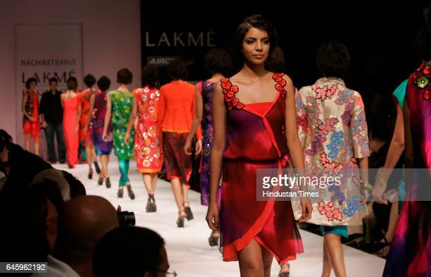 Models walk on the ramp Designer Nachiket Barve creation in Third Day of Lakme Fashion Week / Winter Festive 2010 at Grand Hyatt at Kalina