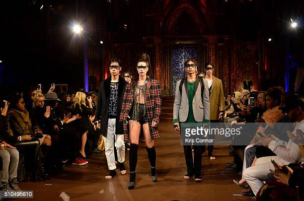 Models walk on the runway at Mr Decurtis Art Hearts Fashion NYFW Fall/Winter 2016 at The Angel Orensanz Foundation on February 15 2016 in New York...