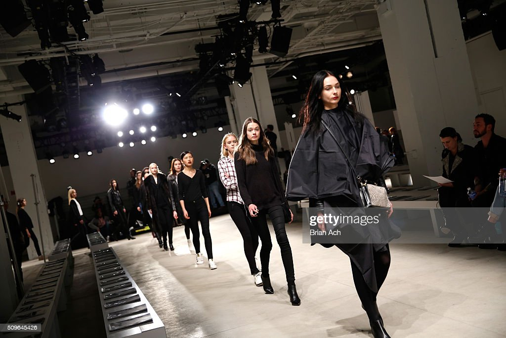 Models walk on the runway at the Marcel Ostertag - Front Row at The Gallery, Skylight at Clarkson Sq on February 11, 2016 in New York City.