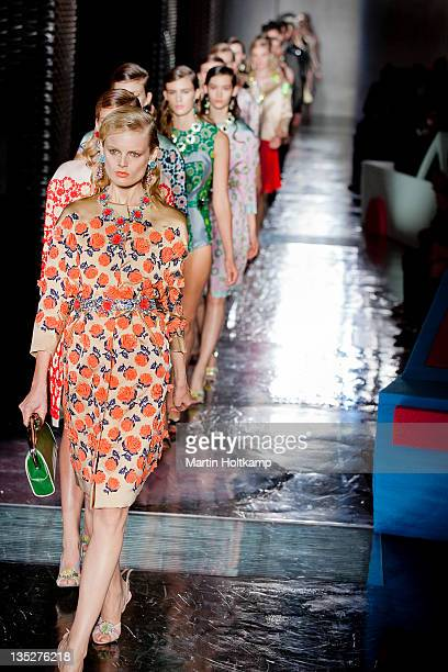 Models walk on the runway during the Prada 2012 S/S Fashion Show on December 6 2011 in Tokyo Japan