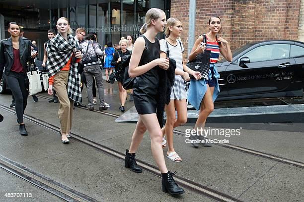 Models walk oustide at MercedesBenz Fashion Week Australia 2014 at Carriageworks on April 10 2014 in Sydney Australia