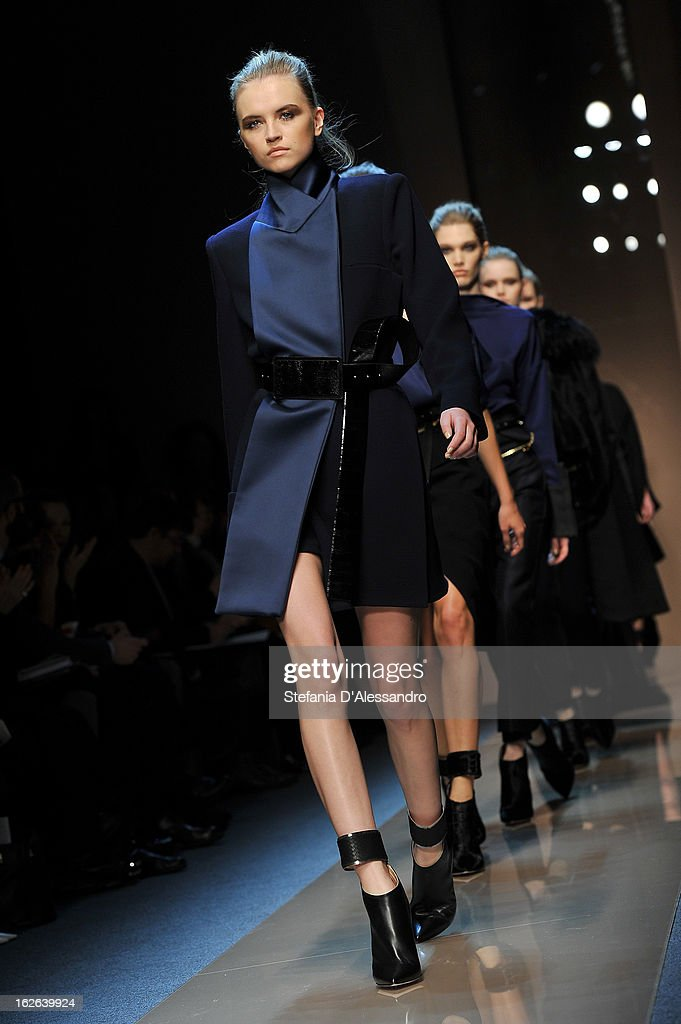 Models walk the catwalk at the Gianfranco Ferre fashion show as part of Milan Fashion Week Womenswear Fall/Winter 2013/14 on February 25, 2014 in Milan, Italy.