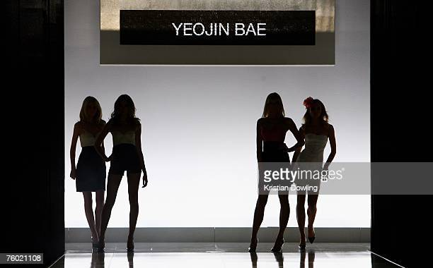Models walk the catwalk during the Yeojin Bae collection show as part of the Myer Spring/Summer Collection Launch at the Carriageworks on August 8...