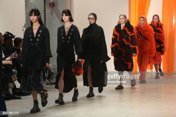Models walk the Dion Lee runway at New York Fashion Week The Shows at Skylight Clarkson Sq on February 11 2017 in New York City
