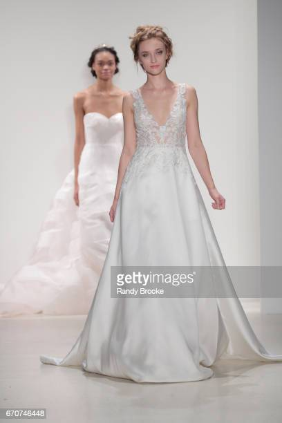 Models walk the finale at the Kelly Faetanini Runway show Spring 2018 season during New York Fashion Week Bridal April 2017 at EZ Studios on April 20...