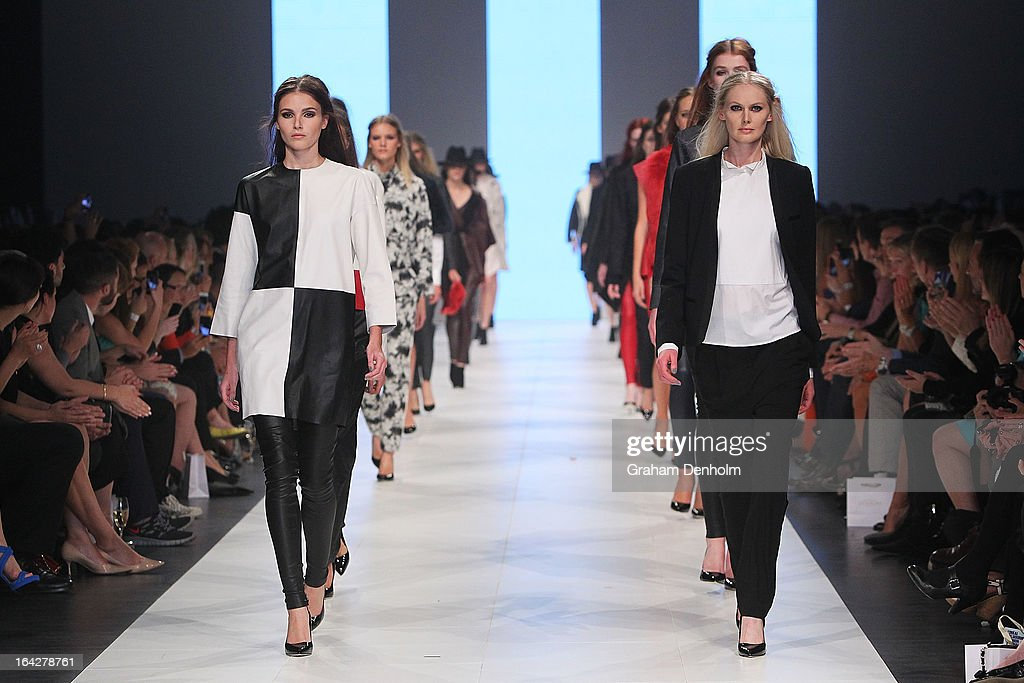 Models walk the finale at the L'Oreal Paris Runway 5 show during day five of L'Oreal Melbourne Fashion Festival on March 22, 2013 in Melbourne, Australia.