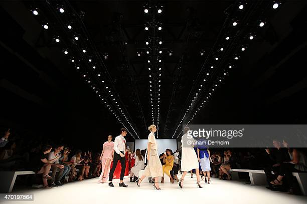 Models walk the finale during the Best of #MBFWA show at MercedesBenz Fashion Week Australia Weekend Edition at Carriageworks on April 18 2015 in...