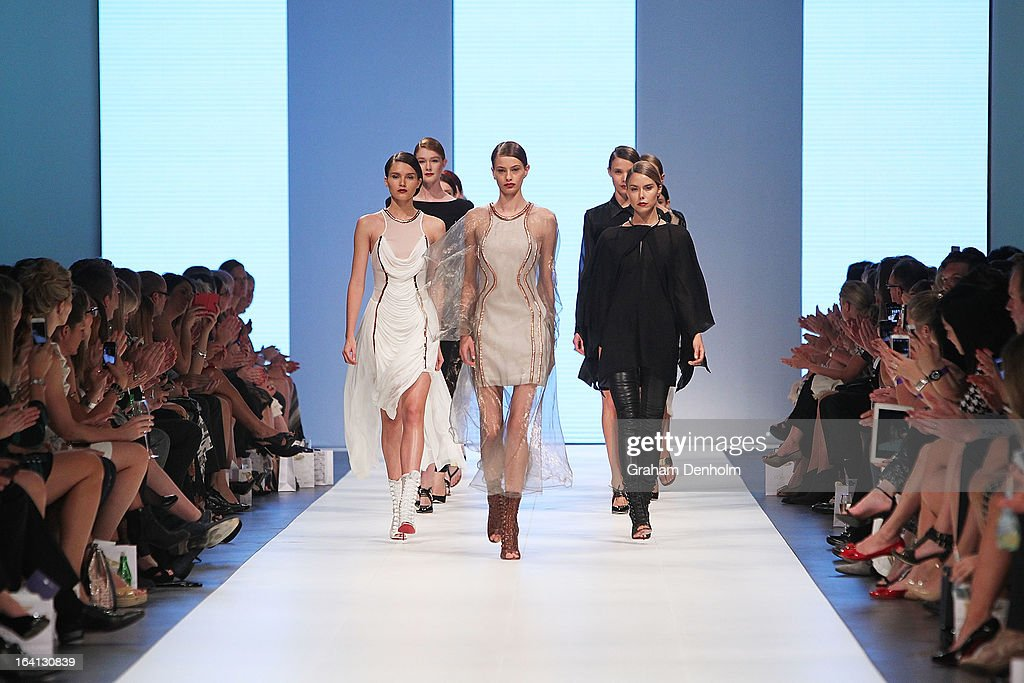 Models walk the finale on the runway at the L'Oreal Paris Runway 1 show during day three of L'Oreal Melbourne Fashion Festival on March 20, 2013 in Melbourne, Australia.
