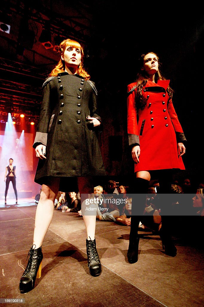 Models walk the 'Kat von D Los Angeles' Fashion Show at the Kesselhaus on January 18, 2013 in Berlin, Germany.