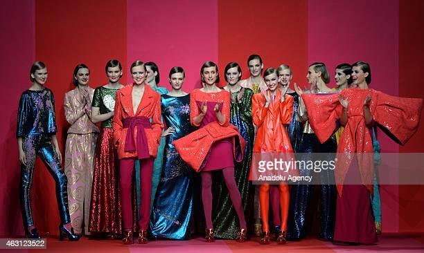 Models walk the runway at Agatha Ruiz de la Prada Fall/Winter 2015/16 show during the Madrid Fashion Week at Ifema on February 10 2015 in Madrid