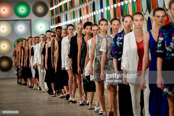 Models walk the runway at Boss Womenswear fashion show during New York Fashion Week on September 14 2016 in New York City