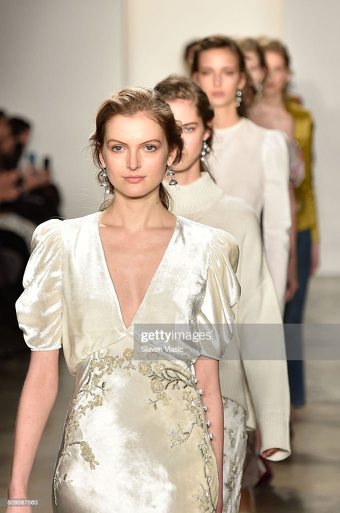 Models walk the runway at Brock Collection fashion show during Fall 2016 MADE Fashion Week at Milk Studios on February 11, 2016 in New York City.