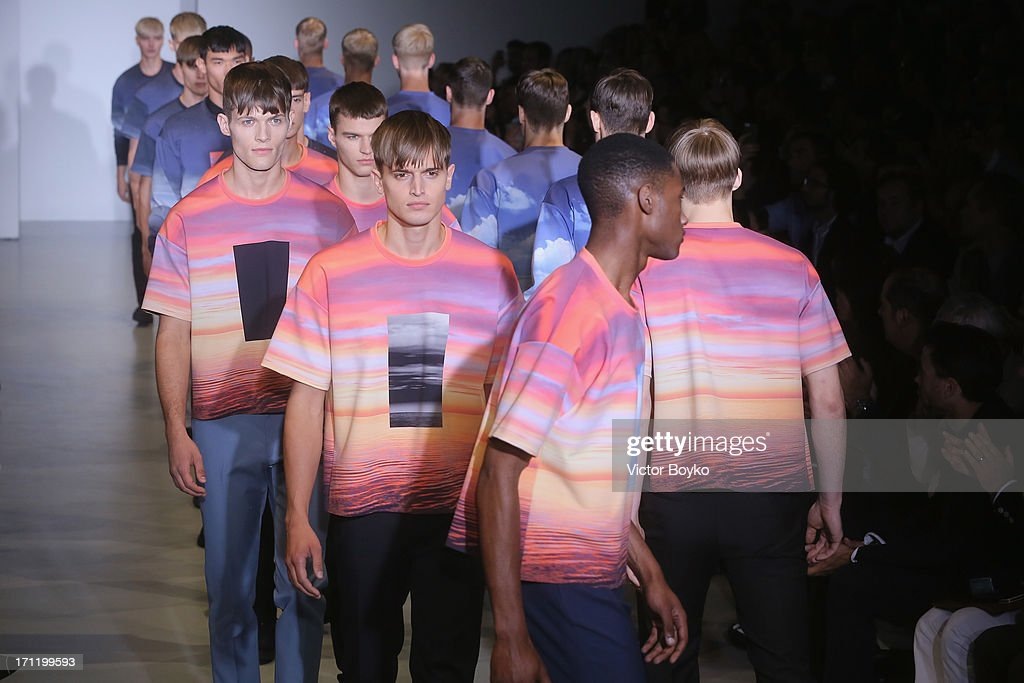 Models walk the runway at Calvin Klein Collection show during Milan Menswear Fashion Week Spring Summer 2014 on June 23, 2013 in Milan, Italy.