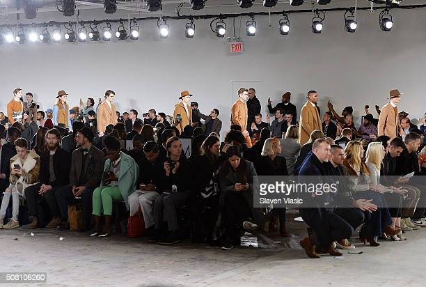Models walk the runway at Carlos Campos' during the New York Fashion Week Men's Fall/Winter 2016 at Skylight at Clarkson Sq on February 2 2016 in New...
