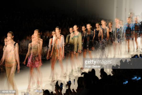 Models walk the runway at Custo Barcelona show during MercedesBenz Fashion Week Spring 2015 on September 7 2014 in New York City