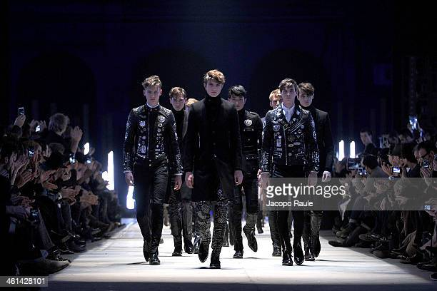 models walk the runway at Diesel Black Gold Fashion Show during Pitti Immagine Uomo 85 on January 8 2014 in Florence Italy